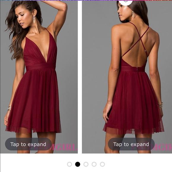 Promgirl Dresses Wine Colored Formal Dress Open Back Poshmark